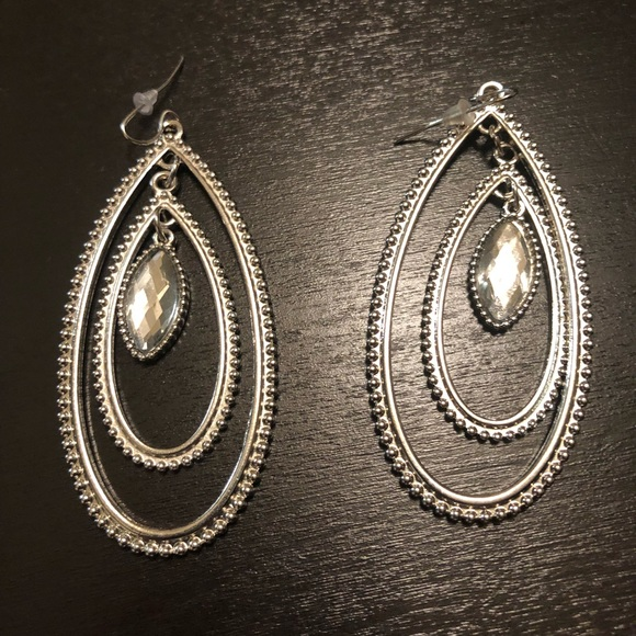 Jewelry - Not Kendra Silver oval earrings w/clear  stone.